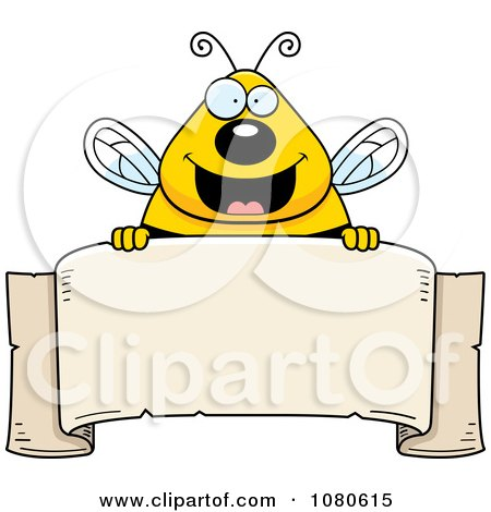 Clipart Chubby Bee Over A Blank Parchment Banner - Royalty Free Vector Illustration by Cory Thoman