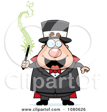 Clipart Chubby Magician Holding A Magic Wand - Royalty Free Vector Illustration by Cory Thoman