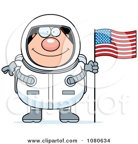 Clipart Chubby Astronaut With An American Flag - Royalty Free Vector Illustration by Cory Thoman