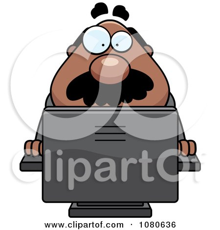 Clipart Chubby Black Businessman Boss Using A Computer - Royalty Free Vector Illustration by Cory Thoman
