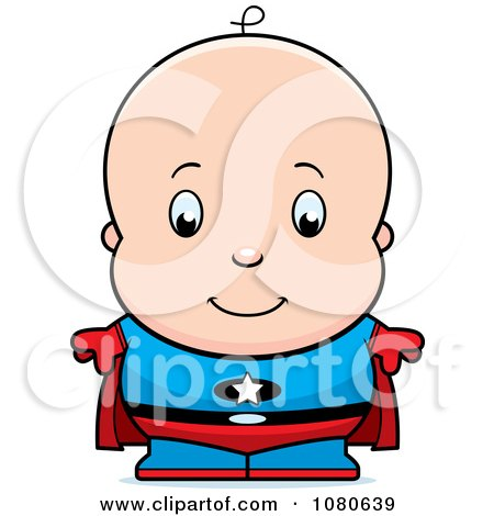 Clipart Cute Baby Boy Super Hero - Royalty Free Vector Illustration by Cory Thoman