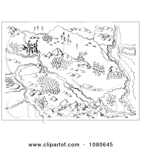 Clipart Sketched Fantasy Land Map - Royalty Free Vector Illustration by patrimonio