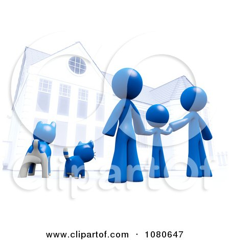 Clipart  3d Blue Family And Pets Standing In Front Of Their Home - Royalty Free CGI Illustration by Leo Blanchette