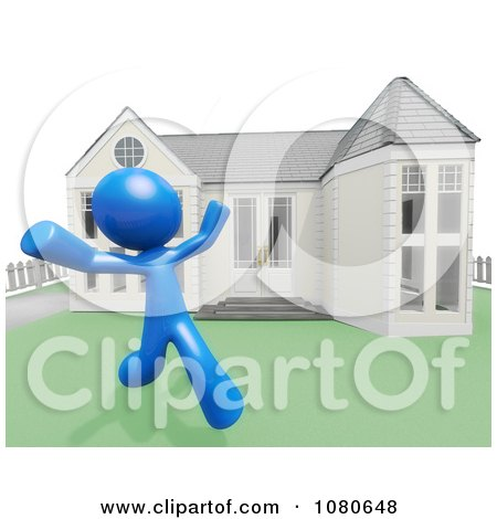 Clipart 3d Blue Man Runnning In His Yard - Royalty Free CGI Illustration by Leo Blanchette