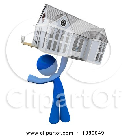 Clipart 3d Blue Man Holding Up A House - Royalty Free CGI Illustration by Leo Blanchette