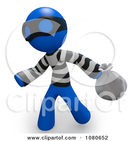 Clipart 3d Blue Man Bank Robber Carring A Bag - Royalty Free CGI Illustration by Leo Blanchette