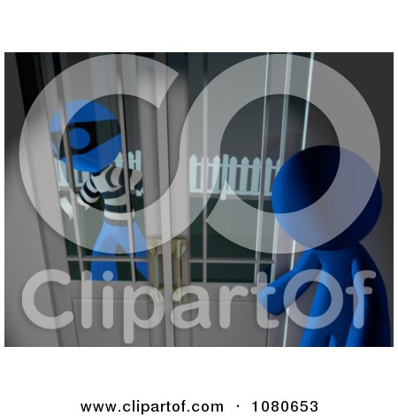 Clipart 3d Blue Man Watching A Robber From Inside His House - Royalty Free CGI Illustration by Leo Blanchette