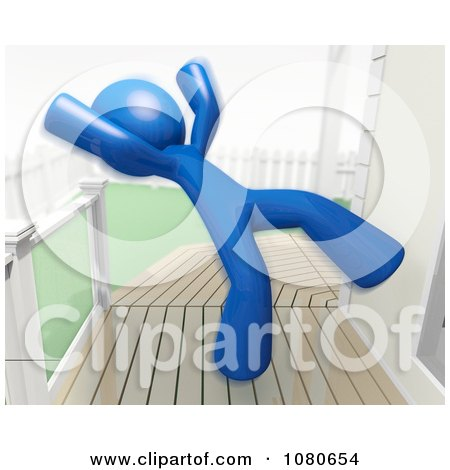 Clipart 3d Blue Man Falling Backwards On A Slippery Deck - Royalty Free CGI Illustration by Leo Blanchette