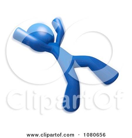Clipart 3d Blue Man Slipping Backwards - Royalty Free CGI Illustration by Leo Blanchette