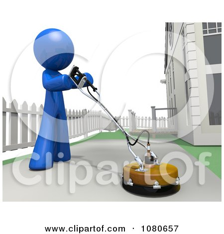 Clipart 3d Blue Man Cleaning Pavement In His Driveway - Royalty Free CGI Illustration by Leo Blanchette