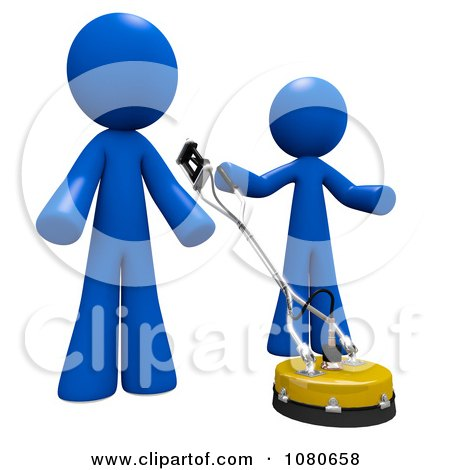 Clipart 3d Blue Men Using A Concrete Cleaner Machine - Royalty Free CGI Illustration by Leo Blanchette