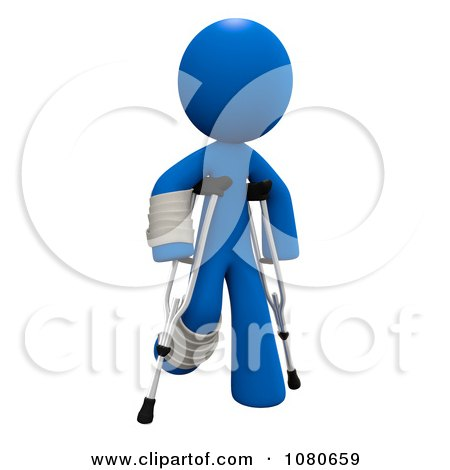 Clipart 3d Blue Man Walking With Crutches - Royalty Free CGI Illustration by Leo Blanchette