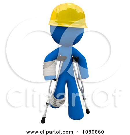 Clipart 3d Blue Construction Man Walking On Crutches - Royalty Free CGI Illustration by Leo Blanchette