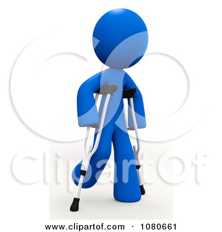 Clipart 3d Blue Man Walking On Crutches - Royalty Free CGI Illustration by Leo Blanchette