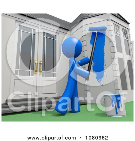 Clipart 3d Blue Man Painting His House - Royalty Free CGI Illustration by Leo Blanchette