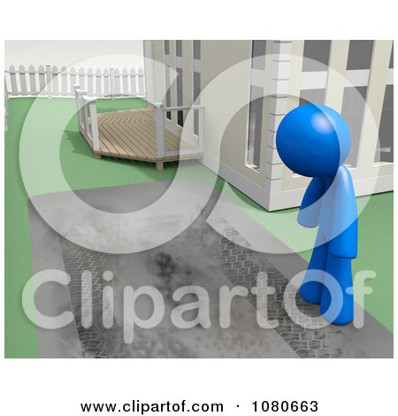 Clipart 3d Blue Man Staring At His Dirty Driveway - Royalty Free CGI Illustration by Leo Blanchette