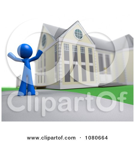 Clipart 3d Blue Man Standing In A Home Driveway - Royalty Free CGI Illustration by Leo Blanchette