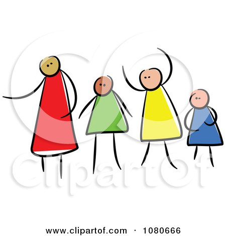 Clipart Diverse Stick People Family 1 - Royalty Free Vector Illustration by Prawny