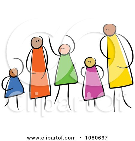 Clipart Diverse Stick People Family 2 - Royalty Free Vector Illustration by Prawny