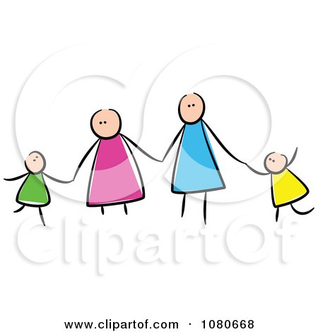 Royalty free clipart illustration of a stick people family holding ...