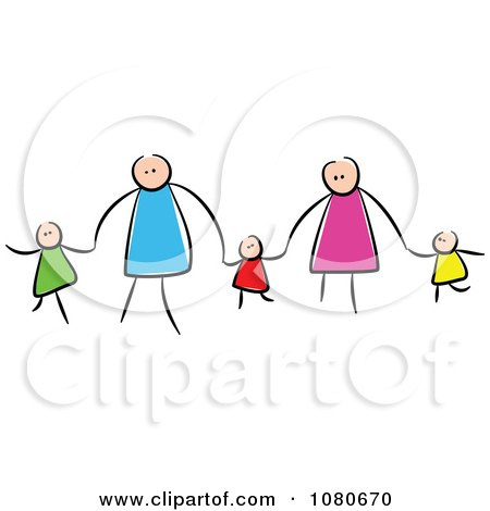 Clipart Stick People Family Holding Hands 2 - Royalty Free Vector Illustration by Prawny