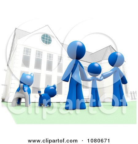 Clipart  3d Blue Family And Pets Standing In Front Of Their House - Royalty Free CGI Illustration by Leo Blanchette
