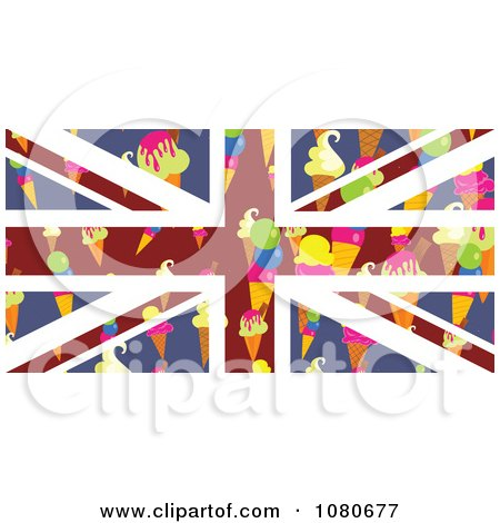Clipart Ice Cream Cone Union Jack Flag - Royalty Free Vector Illustration by Prawny
