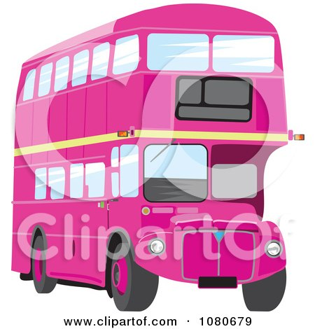 Clipart Pink Double Decker Bus - Royalty Free Vector Illustration by Prawny