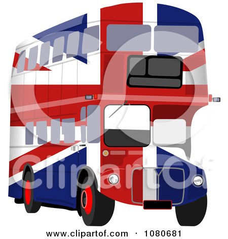 Printposter on Poster  Art Print  British Flag Double Decker Bus By Prawny