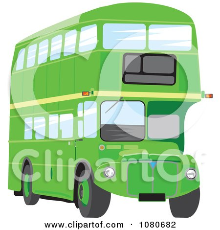 Clipart Green Double Decker Bus - Royalty Free Vector Illustration by Prawny