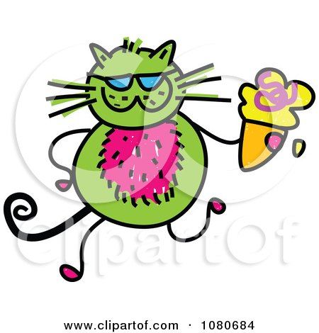 Clipart Doodled Green Cat Holding An Ice Cream Cone - Royalty Free Vector Illustration by Prawny