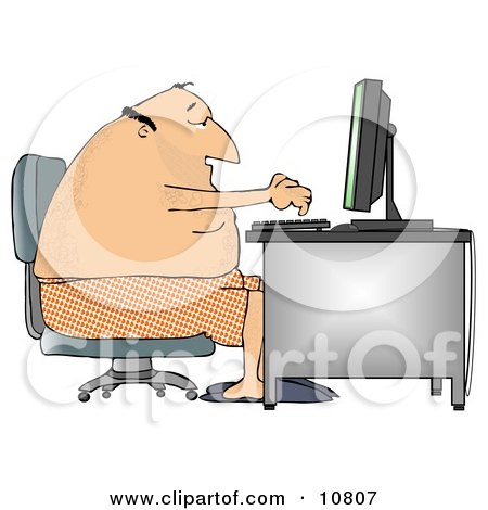 Man in His Boxers and Slippers, Typing on a Computer at a Desk Clipart Illustration by djart