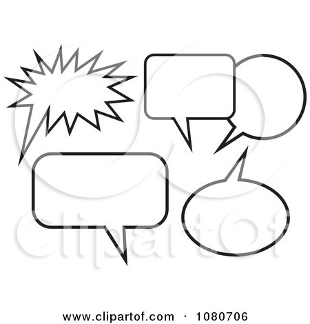 Clipart Black And White Chat Balloons - Royalty Free Vector Illustration by Prawny