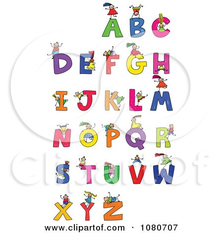 Clipart Doodled Stick Kids Playing On Letters 1 - Royalty Free Vector Illustration by Prawny