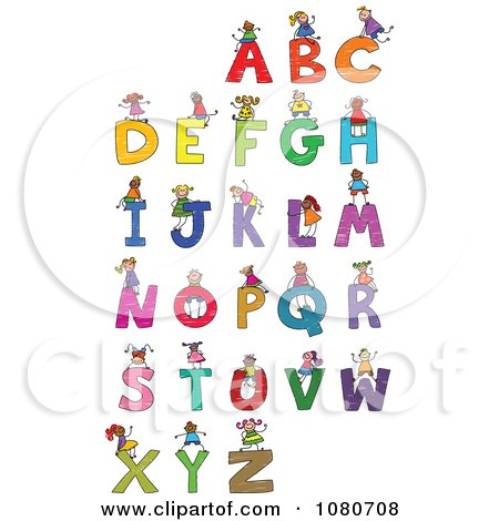 Clipart Doodled Stick Kids Playing On Letters 2 - Royalty Free Vector Illustration by Prawny