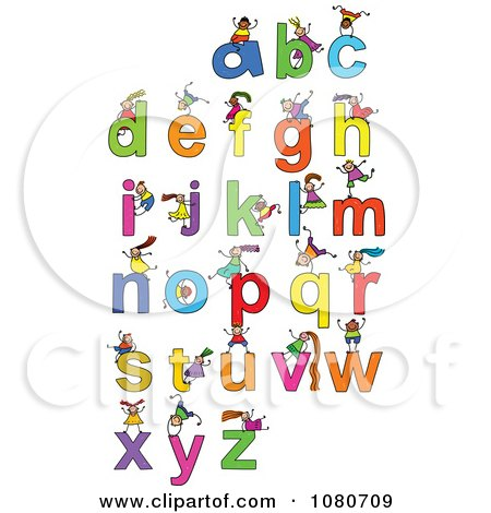 Clipart Doodled Stick Kids Playing On Letters 3 - Royalty Free Vector Illustration by Prawny