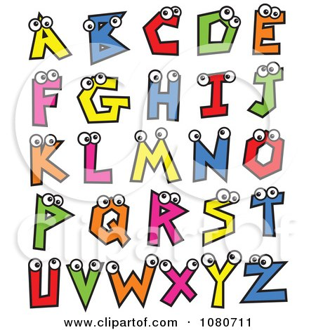 clipart colorful alphabet letters with eyes royalty free vector rh clipartof com free christmas alphabet letters clipart