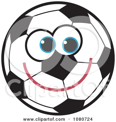 Clipart Smiling Soccer Ball - Royalty Free Vector Illustration by Prawny