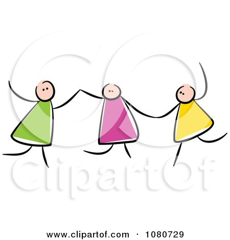 Clipart Stick Kids Holding Hands And Playing - Royalty Free Vector Illustration by Prawny