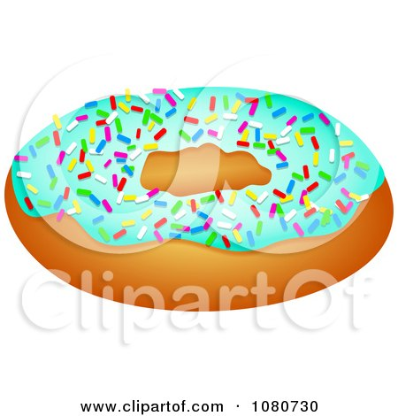 Clipart Donut With Blue Frosting And Colorful Sprinkles - Royalty Free Illustration by Prawny