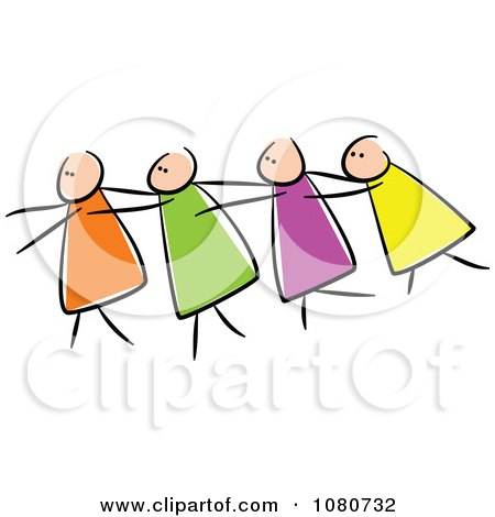Clipart Blind Stick People Leading Each Other - Royalty Free Vector Illustration by Prawny