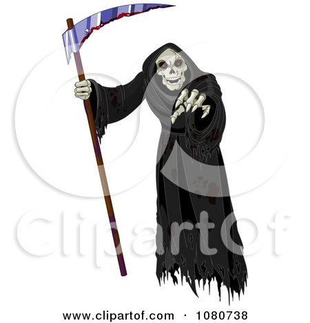 Clipart Creepy Grim Reaper Holding A Scythe And Reaching Out - Royalty Free Vector Illustration by Pushkin