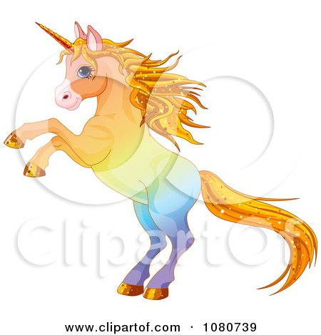 Clipart Rearing Colorful Unicorn With Sparkly Hair - Royalty Free Vector Illustration by Pushkin