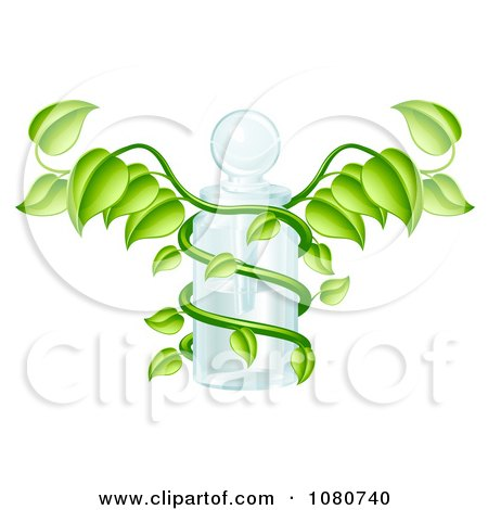 Clipart 3d Caduceus Medical Bottle With A Green Vine - Royalty Free Vector Illustration by AtStockIllustration