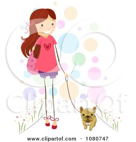 Cute Stick Girl Walking Her French Bulldog Posters, Art Prints
