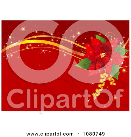 Clipart Red Poinsettia And Gold Ribbon Background With Swirls And Sparkles - Royalty Free Vector Illustration by Pushkin