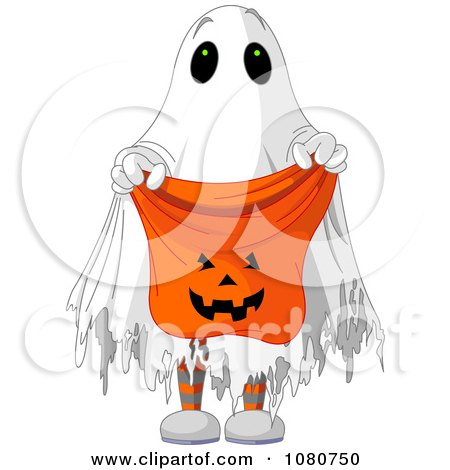 Clipart Halloween Trick Or Treater In A Ghost Costume Holding Out A Candy Bag - Royalty Free Vector Illustration by Pushkin