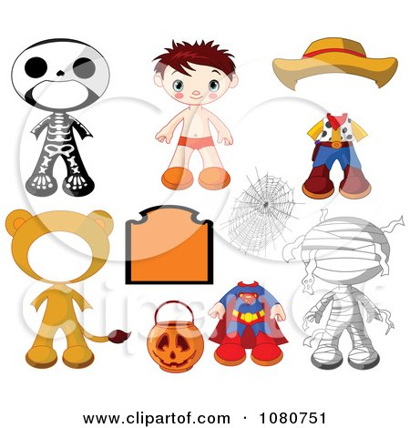 Clipart Boy Halloween Doll With Different Costumes - Royalty Free Vector Illustration by Pushkin