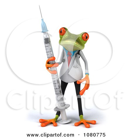 Clipart 3d Doctor Springer Frog With A Vaccine Syringe 1 - Royalty Free Illustration by Julos
