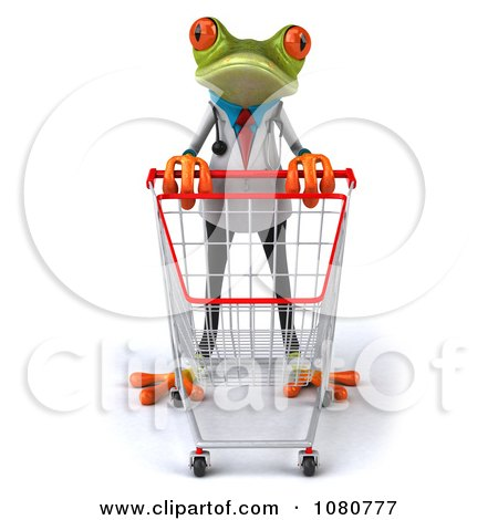 Clipart 3d Doctor Springer Frog Pushing A Cart 1 - Royalty Free Illustration by Julos